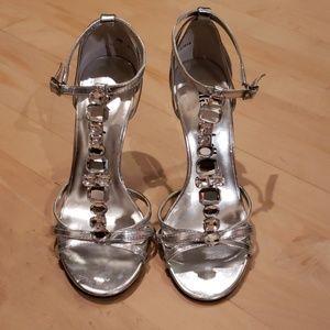 Silver jeweled t-strap heel